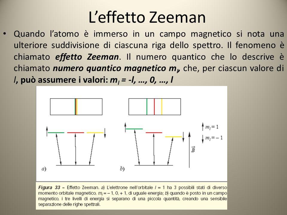 Lo spin dell'elettrone Oltre ai numeri quantici n, l, m l, esiste un quarto numerico quantico che descrive lo spin, una particolare caratteristica dell'elettrone, legato al momento magnetico intrinseco (introdotto da Pauli nel 1925).