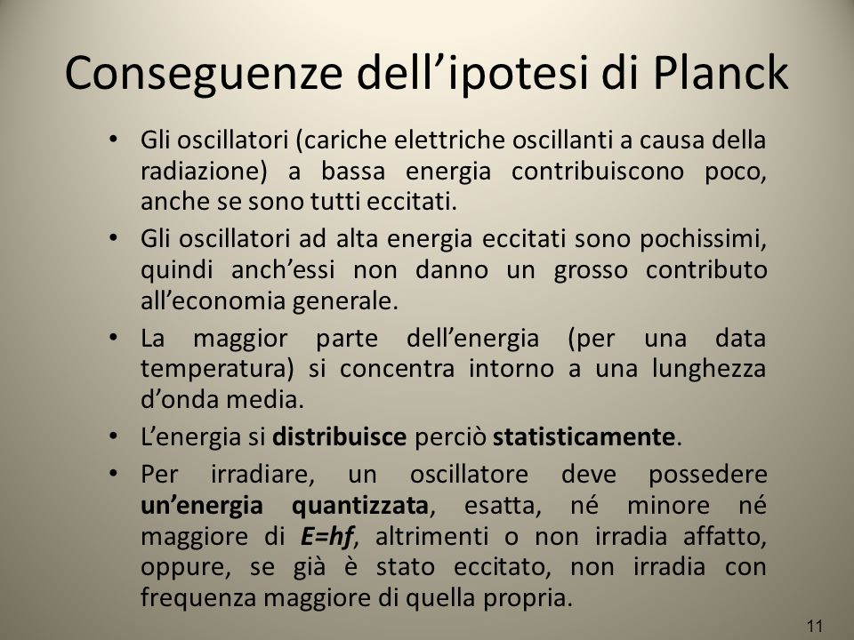 Conseguenze dell'ipotesi di Planck Gli oscillatori (cariche elettriche oscillanti a causa della radiazione) a bassa energia contribuiscono poco, anche