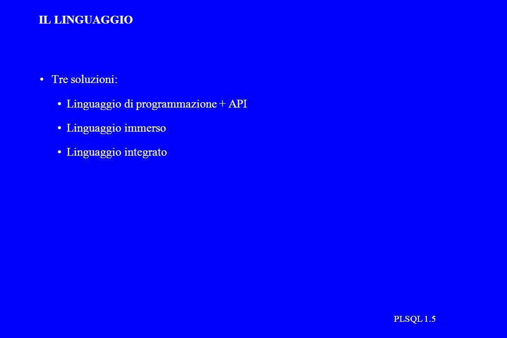 PLSQL 1.5 IL LINGUAGGIO Tre soluzioni: Linguaggio di programmazione + API Linguaggio immerso Linguaggio integrato