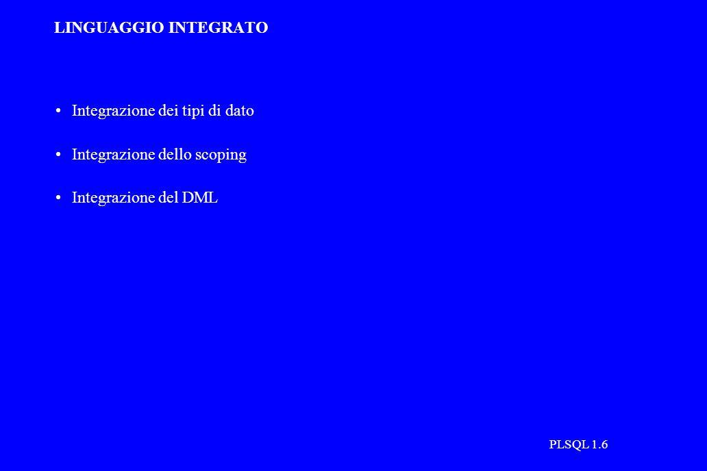 PLSQL 1.6 LINGUAGGIO INTEGRATO Integrazione dei tipi di dato Integrazione dello scoping Integrazione del DML