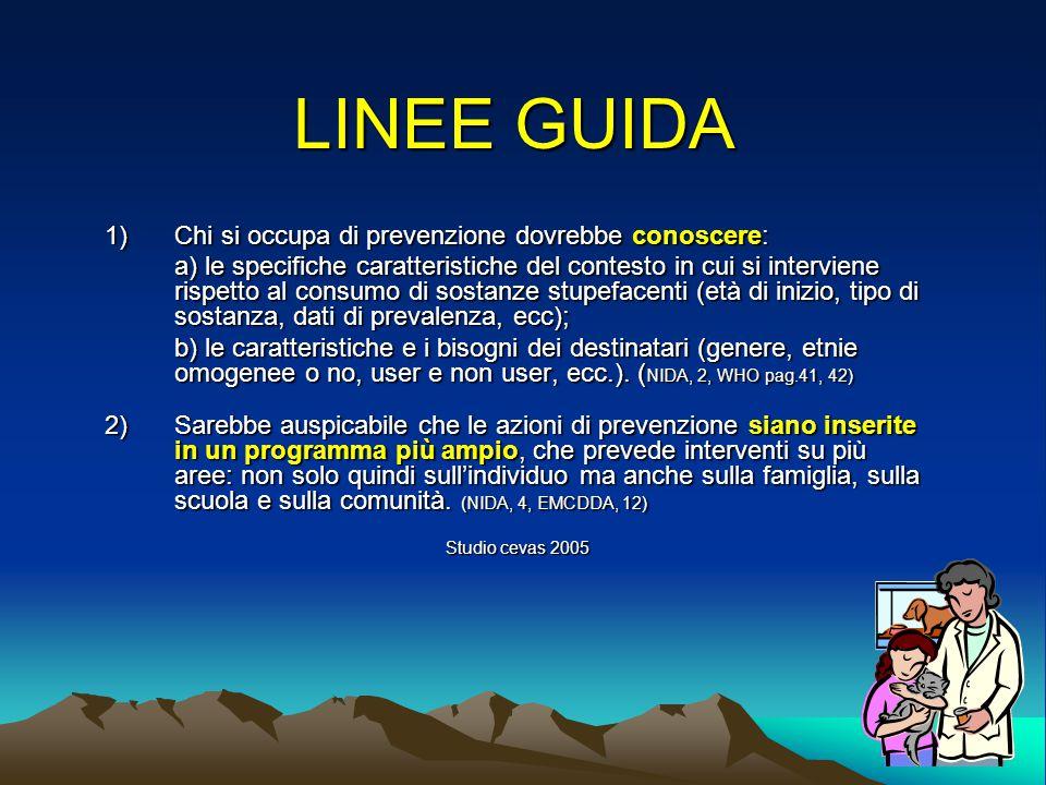 LINEE GUIDA x progettisti 1) 1)Osservare le evidenze indicate dalla letteratura scientifica e le teorie di riferimento può migliorare significativamente l'efficacia della prevenzione.