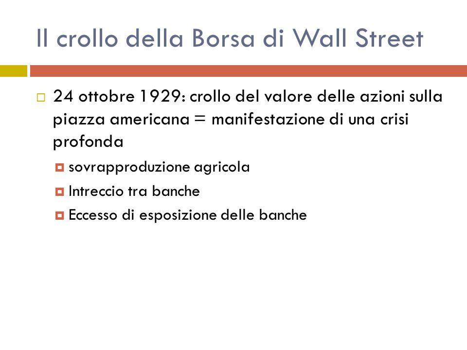Il crollo della Borsa di Wall Street  24 ottobre 1929: crollo del valore delle azioni sulla piazza americana = manifestazione di una crisi profonda  sovrapproduzione agricola  Intreccio tra banche  Eccesso di esposizione delle banche