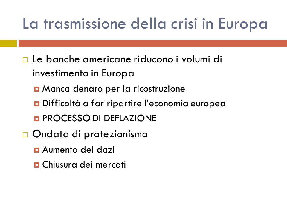 La trasmissione della crisi in Europa  Le banche americane riducono i volumi di investimento in Europa  Manca denaro per la ricostruzione  Difficoltà a far ripartire l'economia europea  PROCESSO DI DEFLAZIONE  Ondata di protezionismo  Aumento dei dazi  Chiusura dei mercati