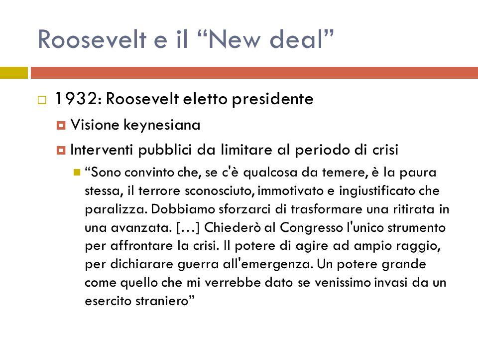 Roosevelt e il New deal  1932: Roosevelt eletto presidente  Visione keynesiana  Interventi pubblici da limitare al periodo di crisi Sono convinto che, se c è qualcosa da temere, è la paura stessa, il terrore sconosciuto, immotivato e ingiustificato che paralizza.