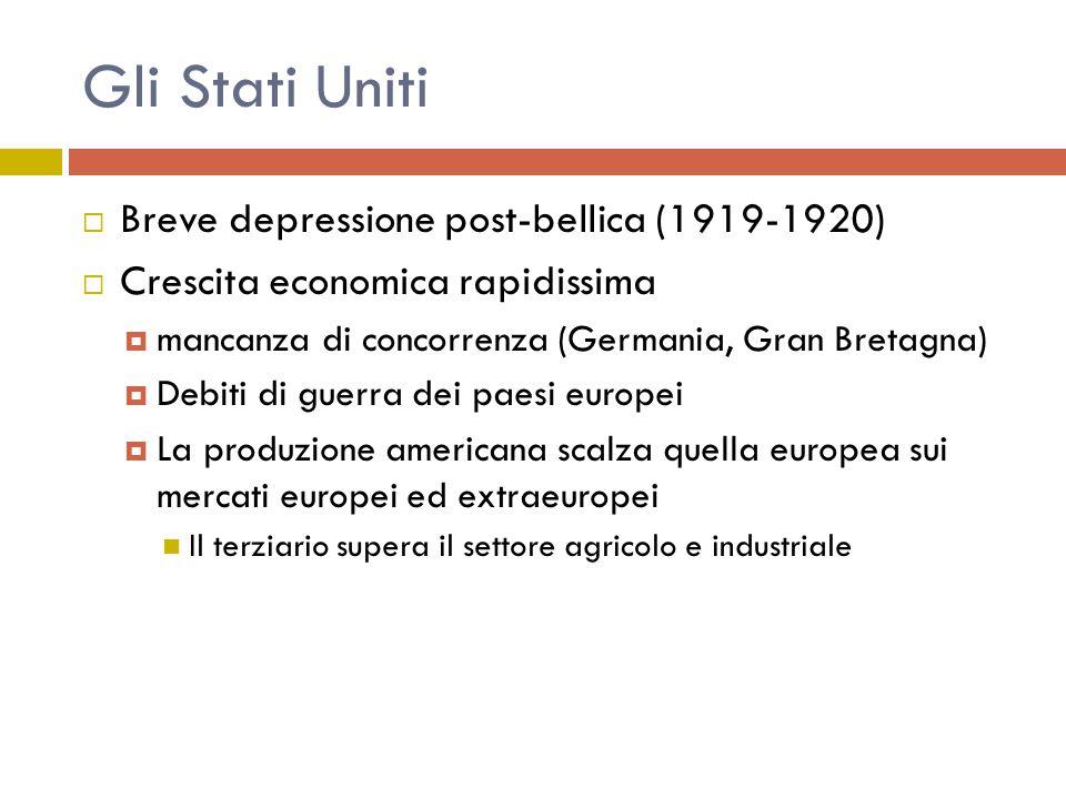 Gli Stati Uniti  Breve depressione post-bellica (1919-1920)  Crescita economica rapidissima  mancanza di concorrenza (Germania, Gran Bretagna)  De