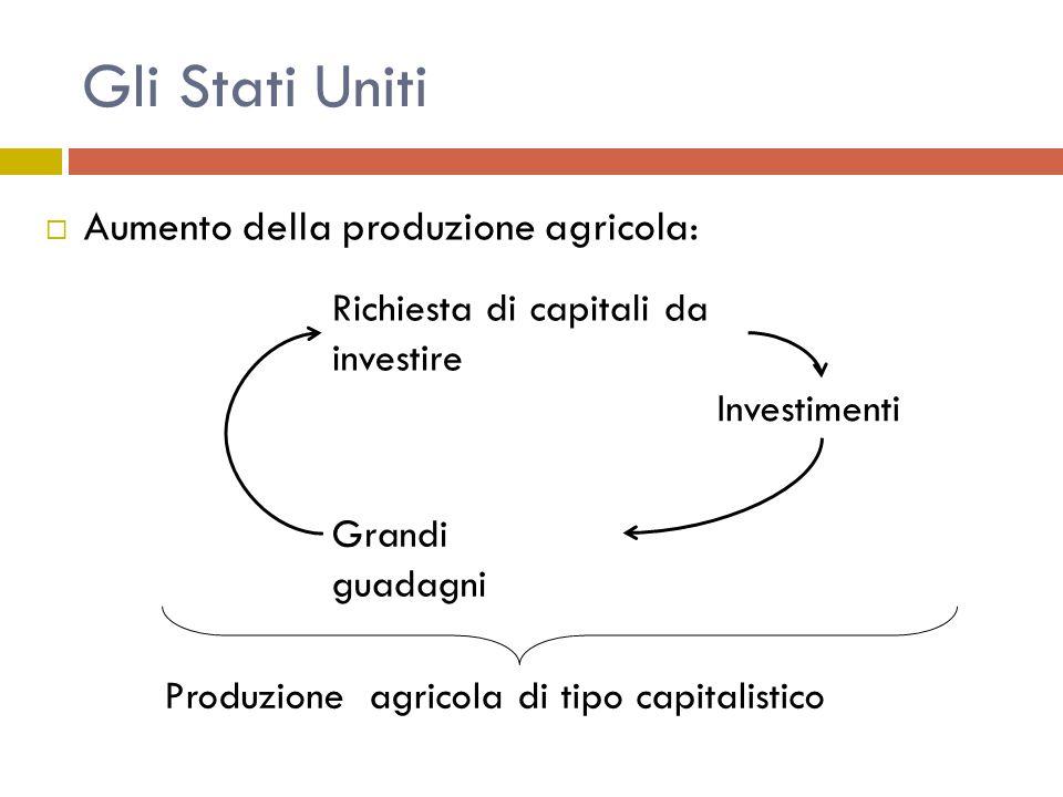  Aumento della produzione agricola: Grandi guadagni Investimenti Produzione agricola di tipo capitalistico Richiesta di capitali da investire Gli Stati Uniti