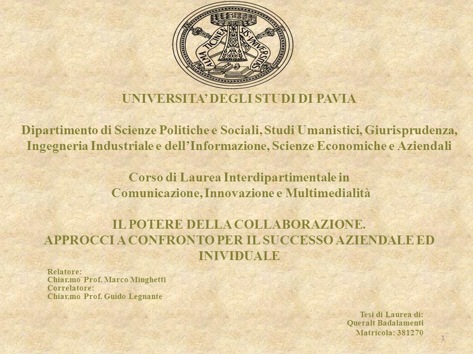 UNIVERSITA' DEGLI STUDI DI PAVIA Dipartimento di Scienze Politiche e Sociali, Studi Umanistici, Giurisprudenza, Ingegneria Industriale e dell'Informaz