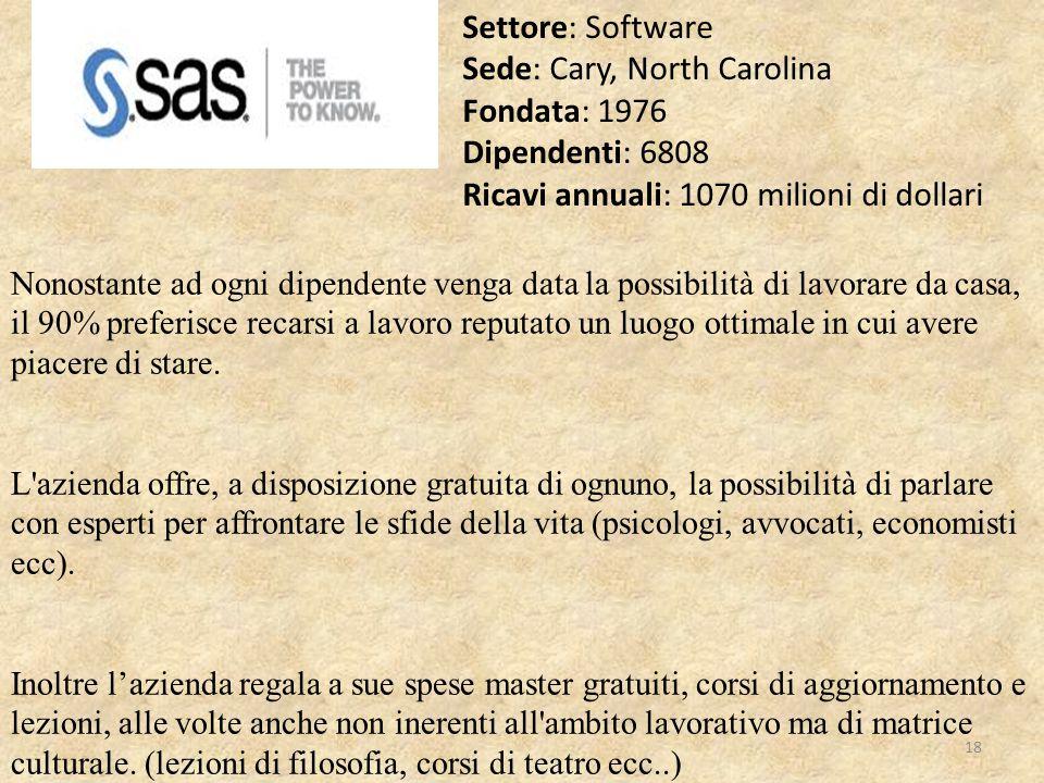 Settore: Software Sede: Cary, North Carolina Fondata: 1976 Dipendenti: 6808 Ricavi annuali: 1070 milioni di dollari Nonostante ad ogni dipendente veng