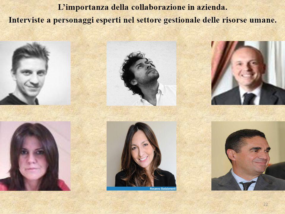 L'importanza della collaborazione in azienda. Interviste a personaggi esperti nel settore gestionale delle risorse umane. 22