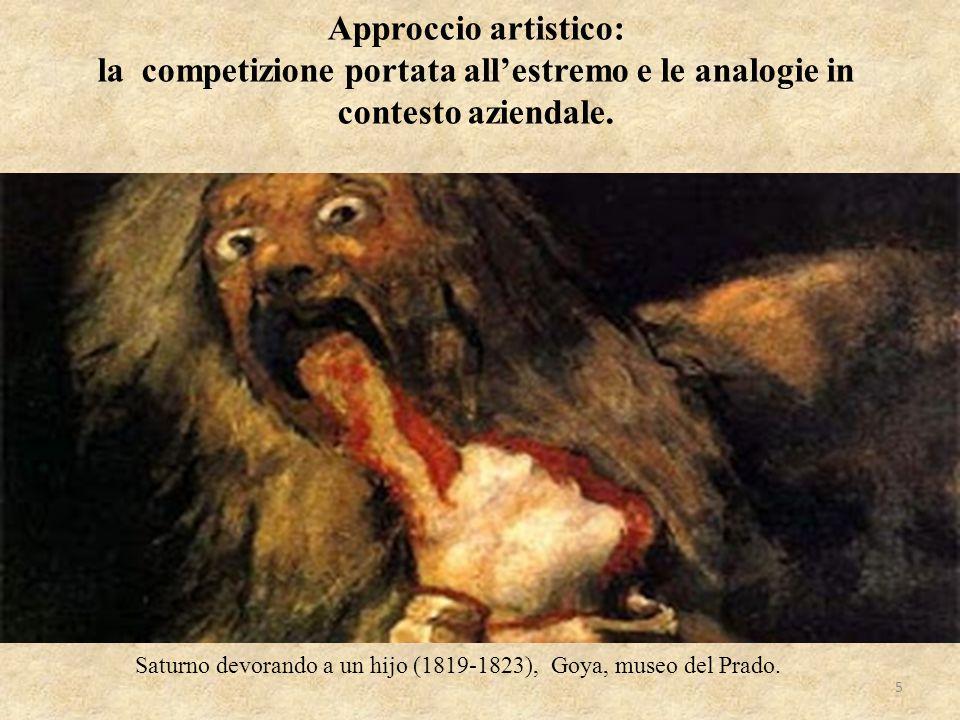 Approccio artistico: la competizione portata all'estremo e le analogie in contesto aziendale. Saturno devorando a un hijo (1819-1823), Goya, museo del