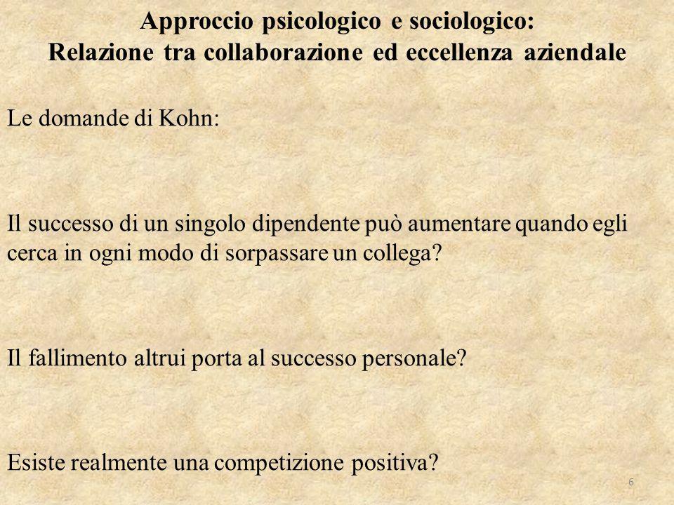 Le domande di Kohn: Il successo di un singolo dipendente può aumentare quando egli cerca in ogni modo di sorpassare un collega? Il fallimento altrui p