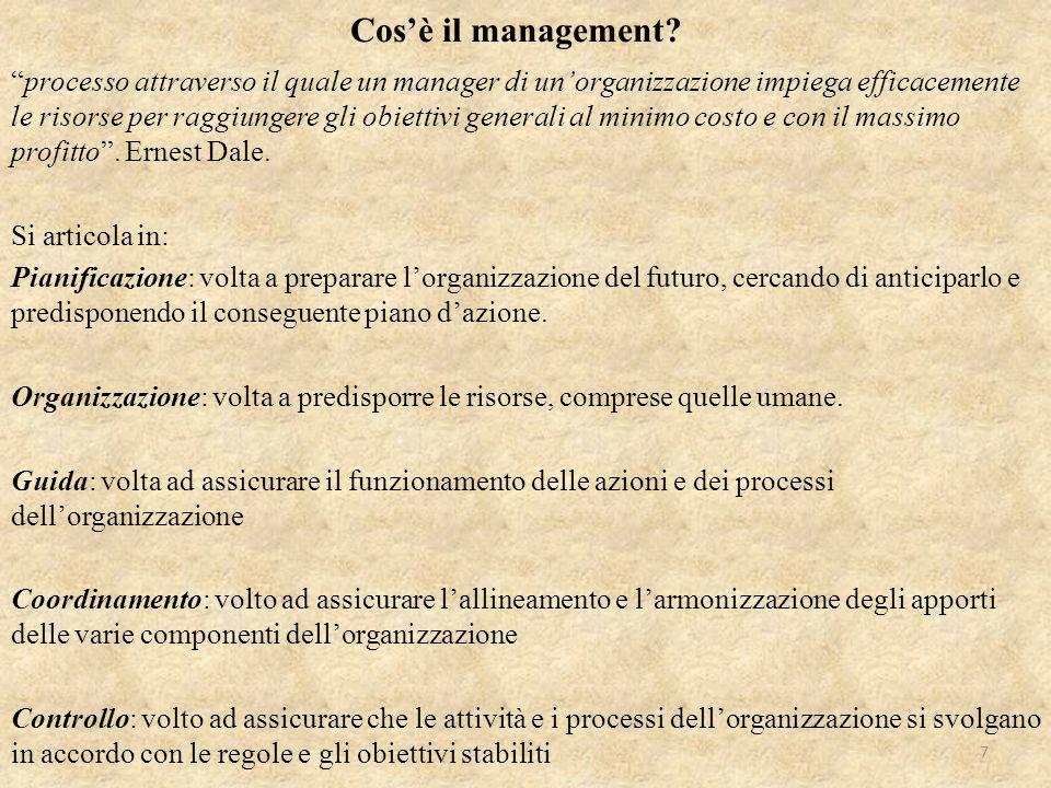 """""""processo attraverso il quale un manager di un'organizzazione impiega efficacemente le risorse per raggiungere gli obiettivi generali al minimo costo"""