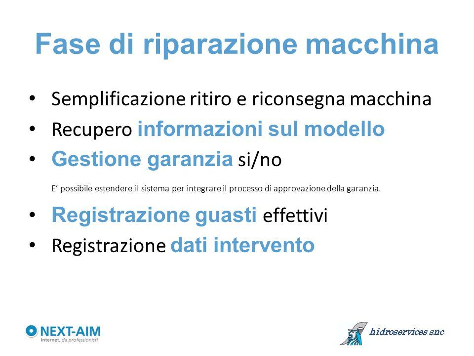 Fase di riparazione macchina Semplificazione ritiro e riconsegna macchina Recupero informazioni sul modello Gestione garanzia si/no E' possibile estendere il sistema per integrare il processo di approvazione della garanzia.