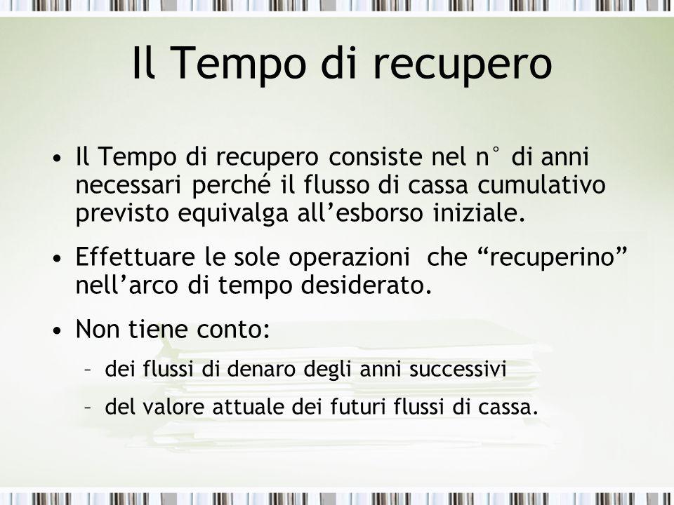 Il Tempo di recupero Il Tempo di recupero consiste nel n° di anni necessari perché il flusso di cassa cumulativo previsto equivalga all'esborso iniziale.