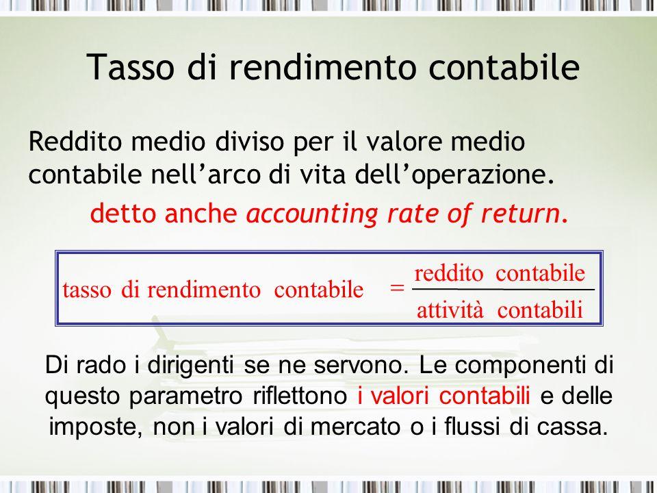 Tasso di rendimento contabile Reddito medio diviso per il valore medio contabile nell'arco di vita dell'operazione. detto anche accounting rate of ret