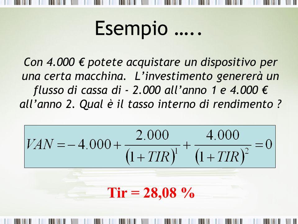 Esempio ….. Con 4.000 € potete acquistare un dispositivo per una certa macchina. L'investimento genererà un flusso di cassa di - 2.000 all'anno 1 e 4.