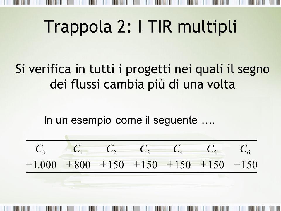 Trappola 2: I TIR multipli Si verifica in tutti i progetti nei quali il segno dei flussi cambia più di una volta 1150 800000.  6543210 CCCCCCC