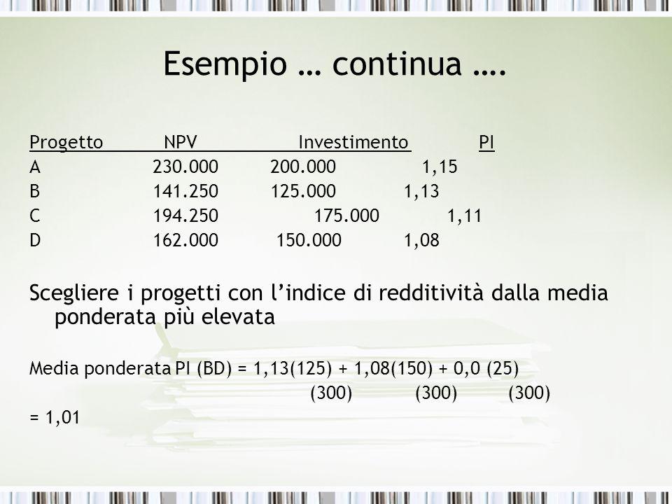 Esempio … continua …. ProgettoNPV Investimento PI A 230.000 200.000 1,15 B 141.250 125.000 1,13 C 194.250 175.000 1,11 D 162.000 150.000 1,08 Sceglier