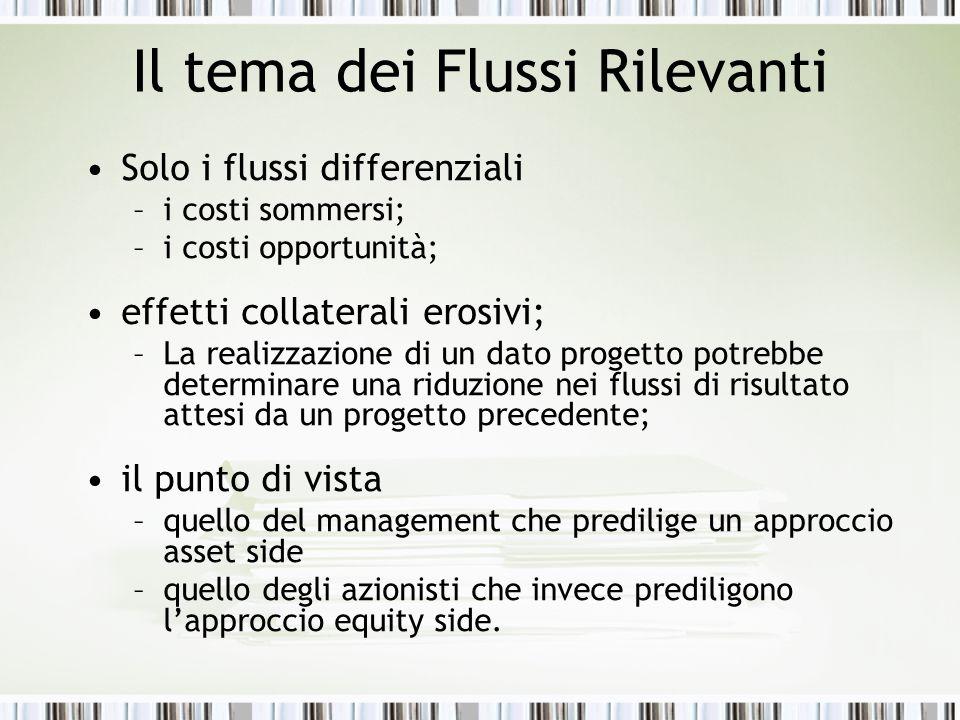 Il tema dei Flussi Rilevanti Solo i flussi differenziali –i costi sommersi; –i costi opportunità; effetti collaterali erosivi; –La realizzazione di un