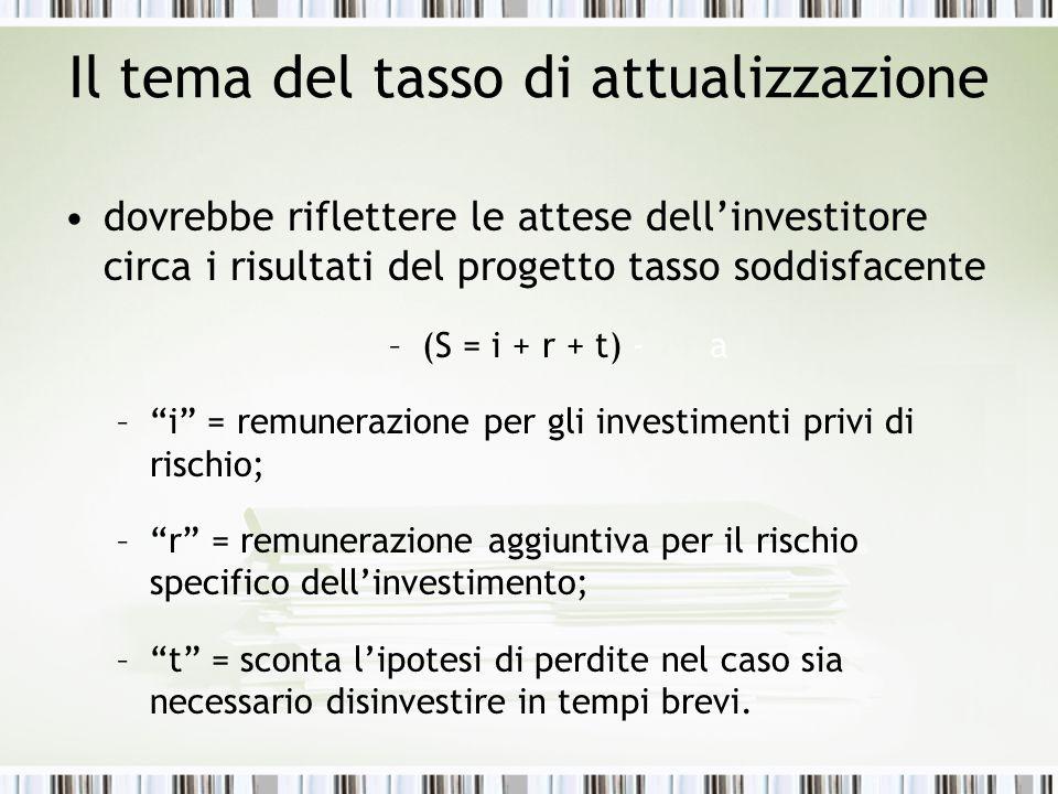 Il tema del tasso di attualizzazione dovrebbe riflettere le attese dell'investitore circa i risultati del progetto tasso soddisfacente –(S = i + r + t) - a – i = remunerazione per gli investimenti privi di rischio; – r = remunerazione aggiuntiva per il rischio specifico dell'investimento; – t = sconta l'ipotesi di perdite nel caso sia necessario disinvestire in tempi brevi.