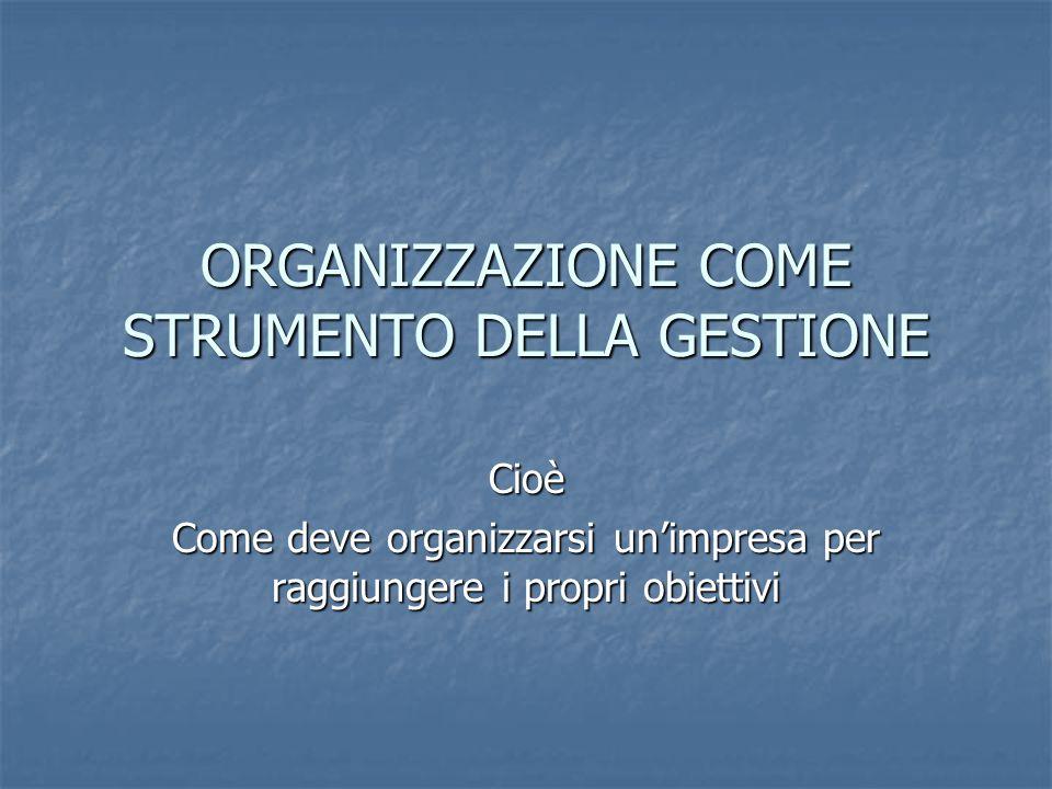 ORGANIZZAZIONE COME STRUMENTO DELLA GESTIONE Cioè Come deve organizzarsi un'impresa per raggiungere i propri obiettivi