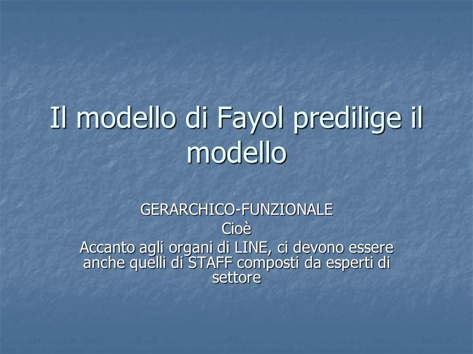 Il modello di Fayol predilige il modello GERARCHICO-FUNZIONALECioè Accanto agli organi di LINE, ci devono essere anche quelli di STAFF composti da esperti di settore