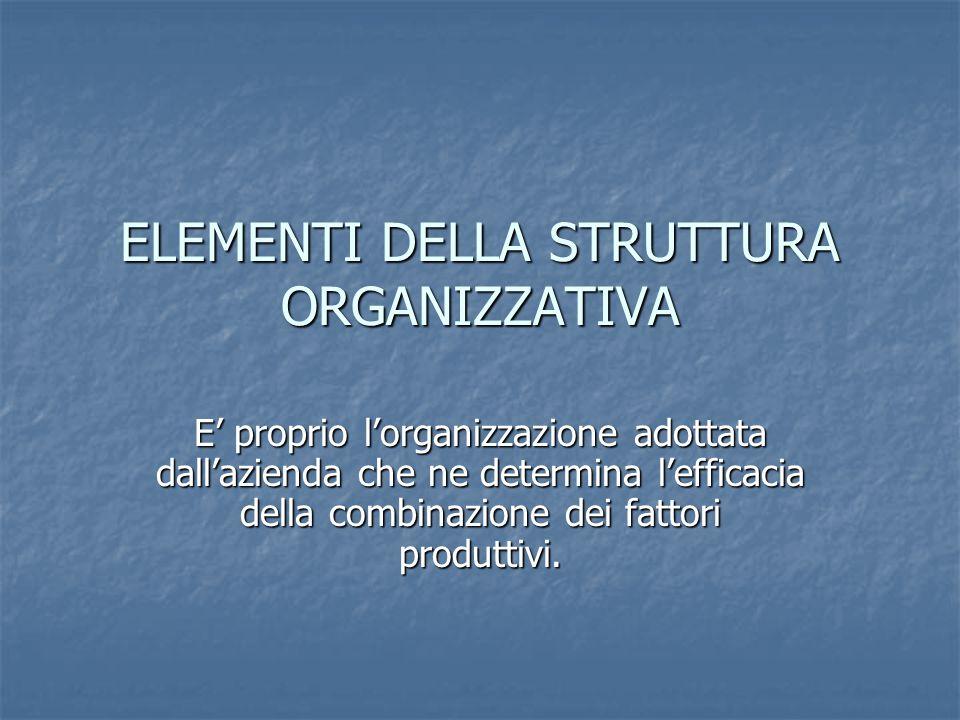 ELEMENTI DELLA STRUTTURA ORGANIZZATIVA E' proprio l'organizzazione adottata dall'azienda che ne determina l'efficacia della combinazione dei fattori produttivi.