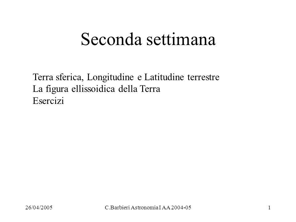 26/04/2005C.Barbieri Astronomia I AA 2004-051 Seconda settimana Terra sferica, Longitudine e Latitudine terrestre La figura ellissoidica della Terra E