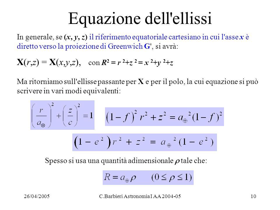 26/04/2005C.Barbieri Astronomia I AA 2004-0510 Equazione dell'ellissi In generale, se (x, y, z) il riferimento equatoriale cartesiano in cui l'asse x