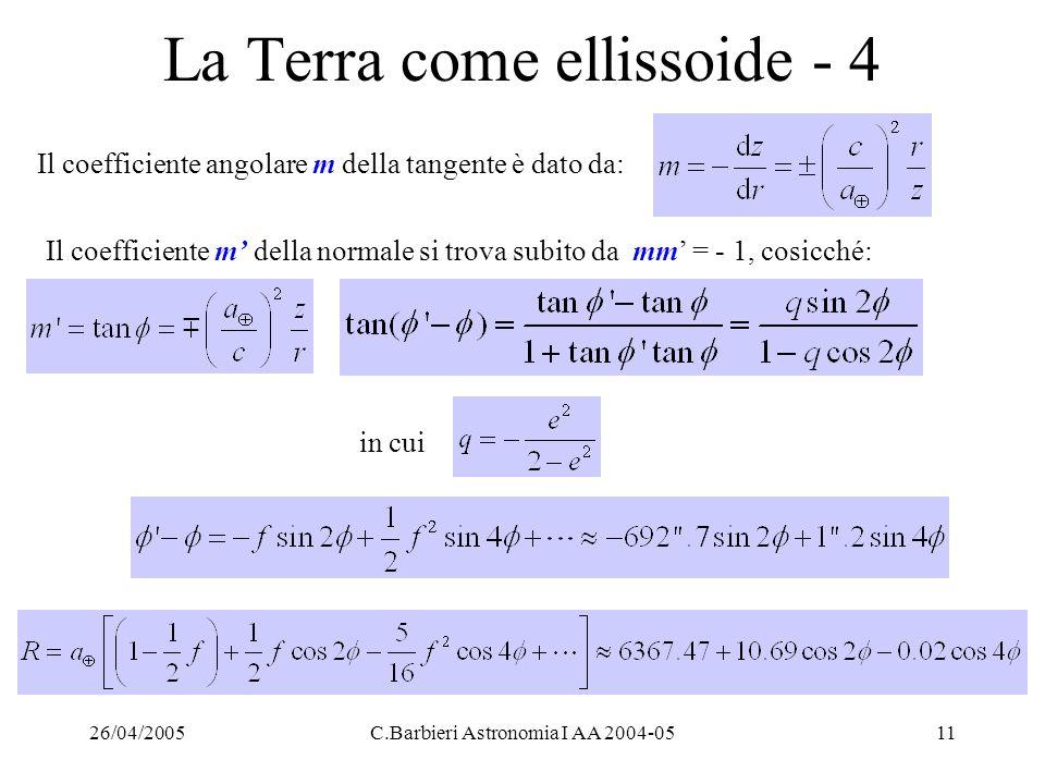 26/04/2005C.Barbieri Astronomia I AA 2004-0511 La Terra come ellissoide - 4 Il coefficiente angolare m della tangente è dato da: Il coefficiente m' de