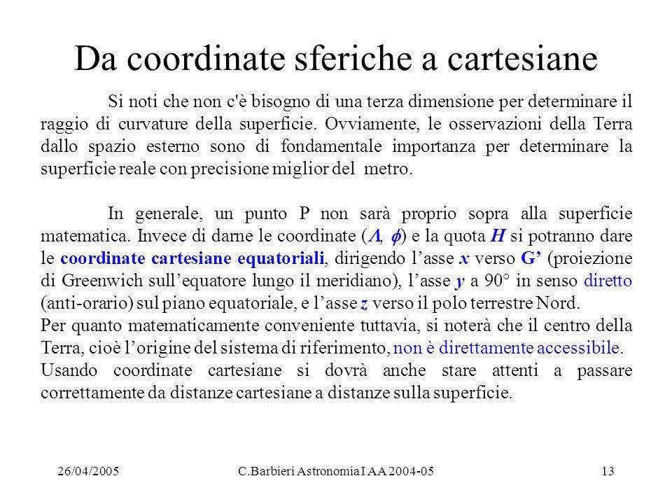 26/04/2005C.Barbieri Astronomia I AA 2004-0513 Da coordinate sferiche a cartesiane Si noti che non c'è bisogno di una terza dimensione per determinare