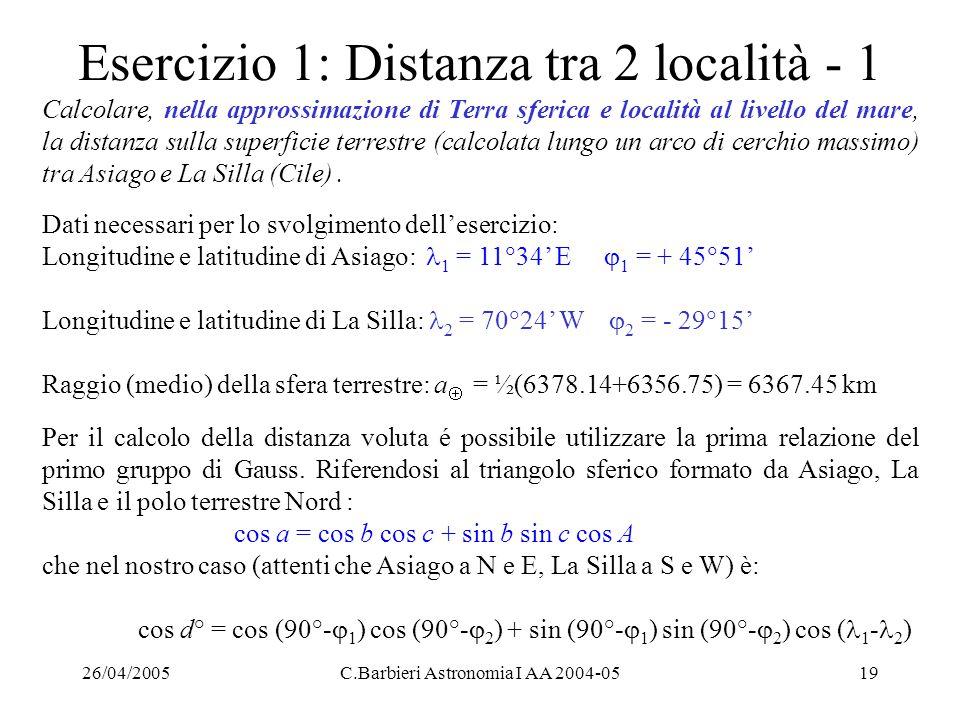26/04/2005C.Barbieri Astronomia I AA 2004-0519 Esercizio 1: Distanza tra 2 località - 1 Calcolare, nella approssimazione di Terra sferica e località a
