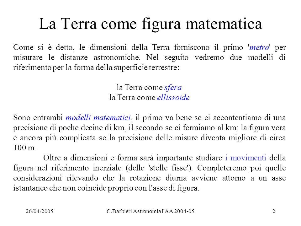 26/04/2005C.Barbieri Astronomia I AA 2004-052 La Terra come figura matematica Come si è detto, le dimensioni della Terra forniscono il primo 'metro' p