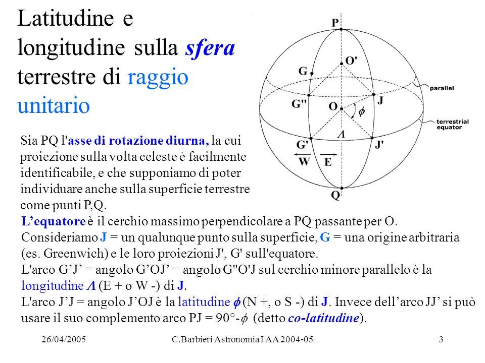26/04/2005C.Barbieri Astronomia I AA 2004-054 Unità di misura per longitudine e latitudine Tradizionalmente,  è data in ( h m s ) a Est (E) o a Ovest (W) di Greenwich: 0 h    12 h E oppure 0 h    12 h W mentre  è espressa in (° ' ) Nord (N) o Sud (S) dell'equatore: -90°    +90°.