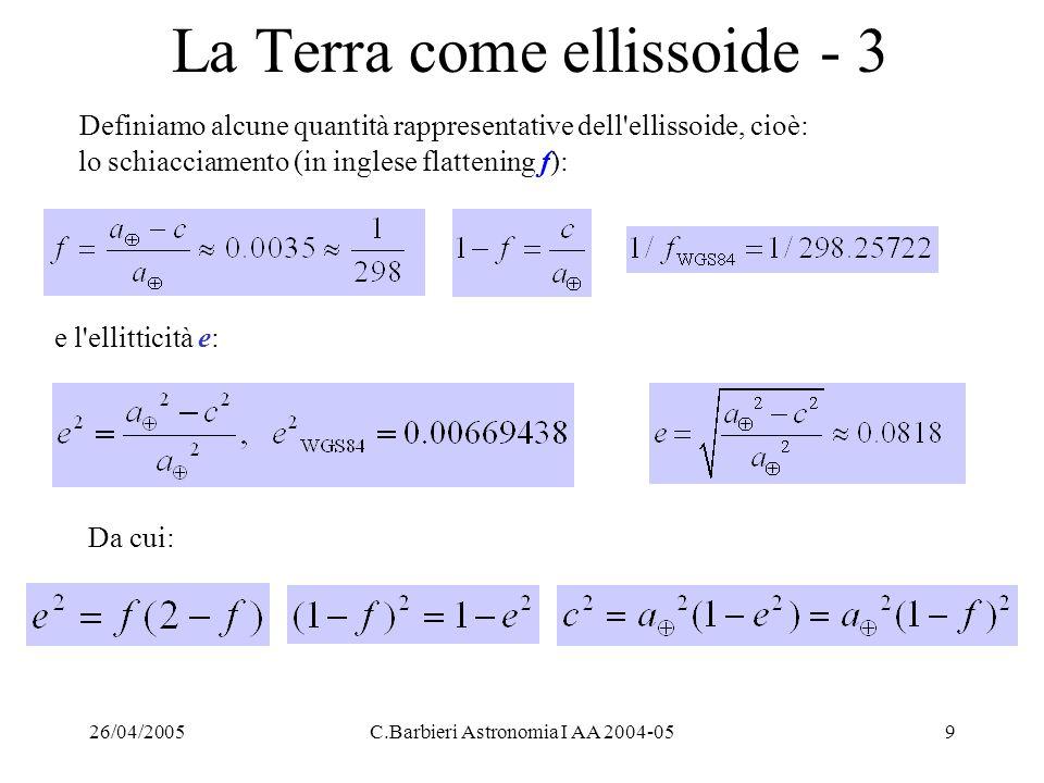 26/04/2005C.Barbieri Astronomia I AA 2004-0520 Esercizio 1: Distanza tra 2 località - 2 o anche: cos d°= cos(44.15) cos (119.25) + sin(44.15) sin (119.25) cos (81.95) = -0.265 da cui d° = 105°.369, d (km) = d°x111.13 km/° = 11709.7 km essendo circa 111.13 km la distanza sulla superficie terrestre in approssimazione sferica e raggio medio di un angolo al centro di 1 grado (si noti che la definizione: 1 miglio nautico = arco di cerchio massimo che sottende un angolo al centro di 1' darebbe, usando il raggio medio, 1852.2 km, mentre per definizione del 1929 vale 1852 m).