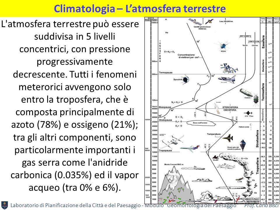 """Laboratorio di Pianificazione della Città e del Paesaggio - Modulo """"Geomorfologia del Paesaggio"""" Prof. Carlo Bisci Climatologia – L'atmosfera terrestr"""