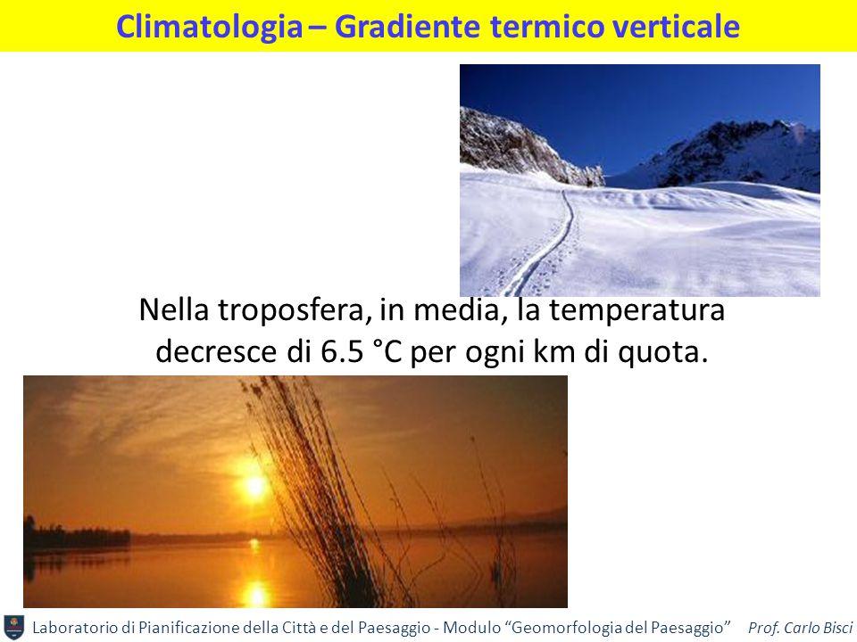 """Laboratorio di Pianificazione della Città e del Paesaggio - Modulo """"Geomorfologia del Paesaggio"""" Prof. Carlo Bisci Climatologia – Gradiente termico ve"""