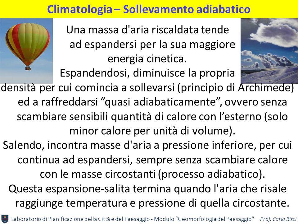 """Laboratorio di Pianificazione della Città e del Paesaggio - Modulo """"Geomorfologia del Paesaggio"""" Prof. Carlo Bisci Climatologia – Sollevamento adiabat"""