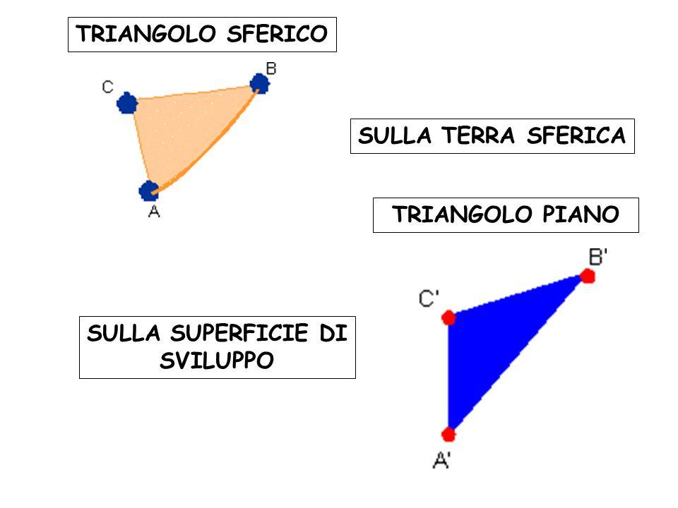 TRIANGOLO SFERICO TRIANGOLO PIANO SULLA TERRA SFERICA SULLA SUPERFICIE DI SVILUPPO