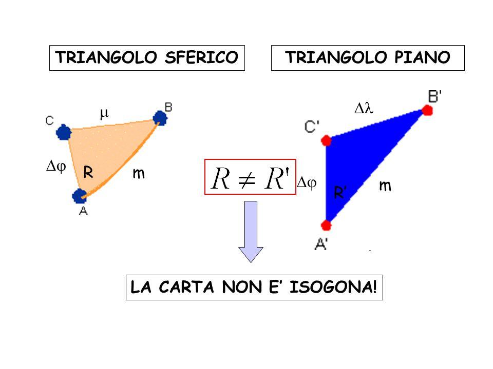 TRIANGOLO SFERICOTRIANGOLO PIANO R R' m    m LA CARTA NON E' ISOGONA!