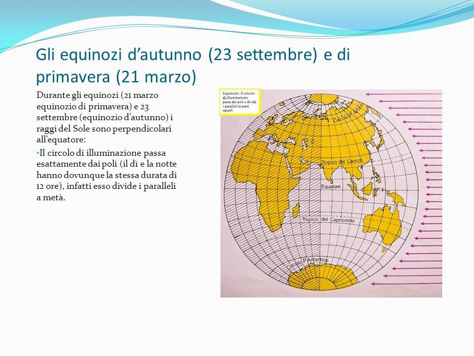 Gli equinozi d'autunno (23 settembre) e di primavera (21 marzo) Durante gli equinozi (21 marzo equinozio di primavera) e 23 settembre (equinozio d'aut