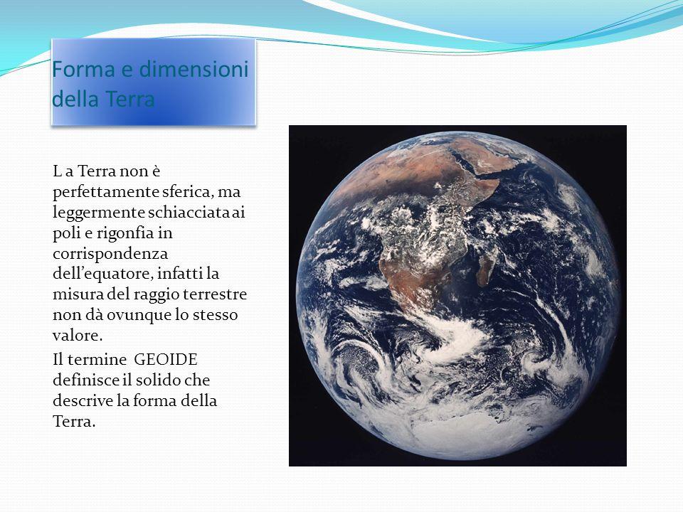 Forma e dimensioni della Terra L a Terra non è perfettamente sferica, ma leggermente schiacciata ai poli e rigonfia in corrispondenza dell'equatore, i