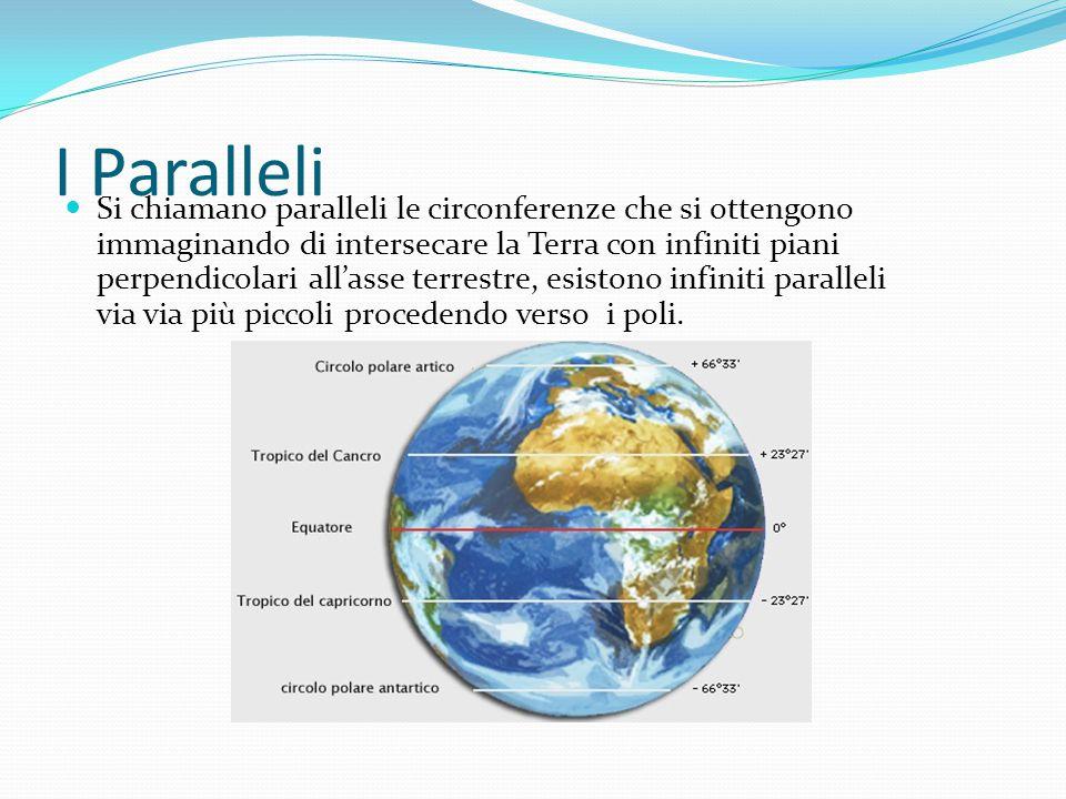 I Paralleli Si chiamano paralleli le circonferenze che si ottengono immaginando di intersecare la Terra con infiniti piani perpendicolari all'asse ter
