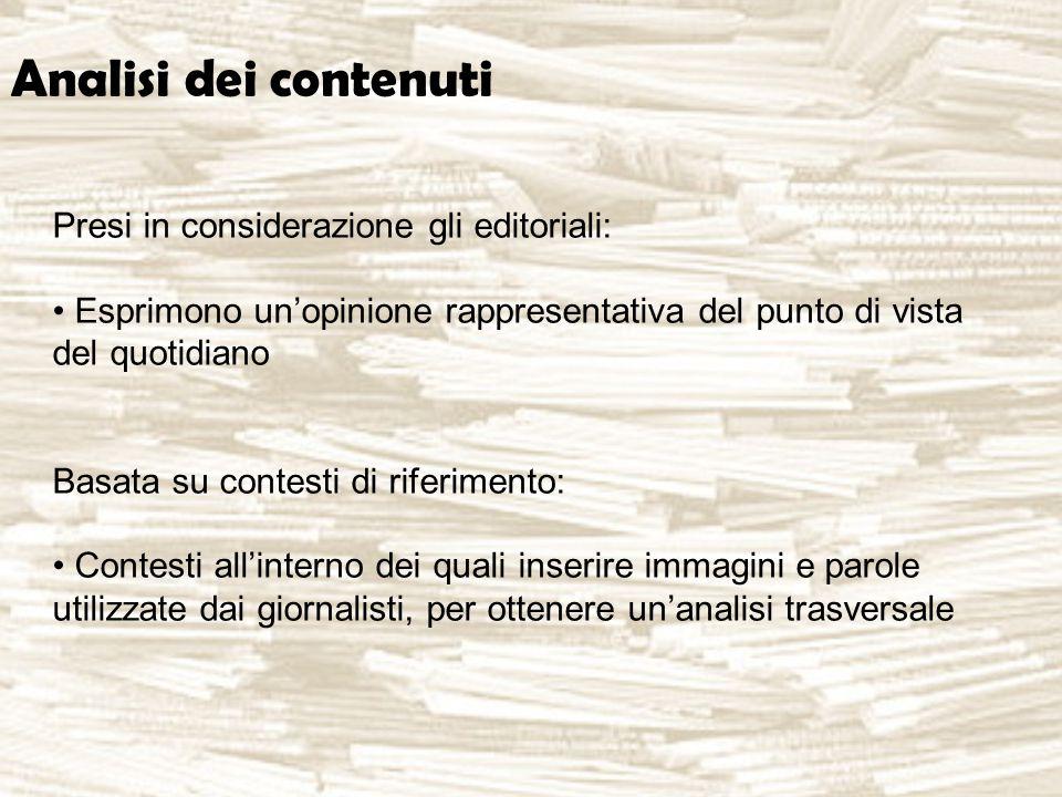 Analisi dei contenuti Presi in considerazione gli editoriali: Esprimono un'opinione rappresentativa del punto di vista del quotidiano Basata su contesti di riferimento: Contesti all'interno dei quali inserire immagini e parole utilizzate dai giornalisti, per ottenere un'analisi trasversale