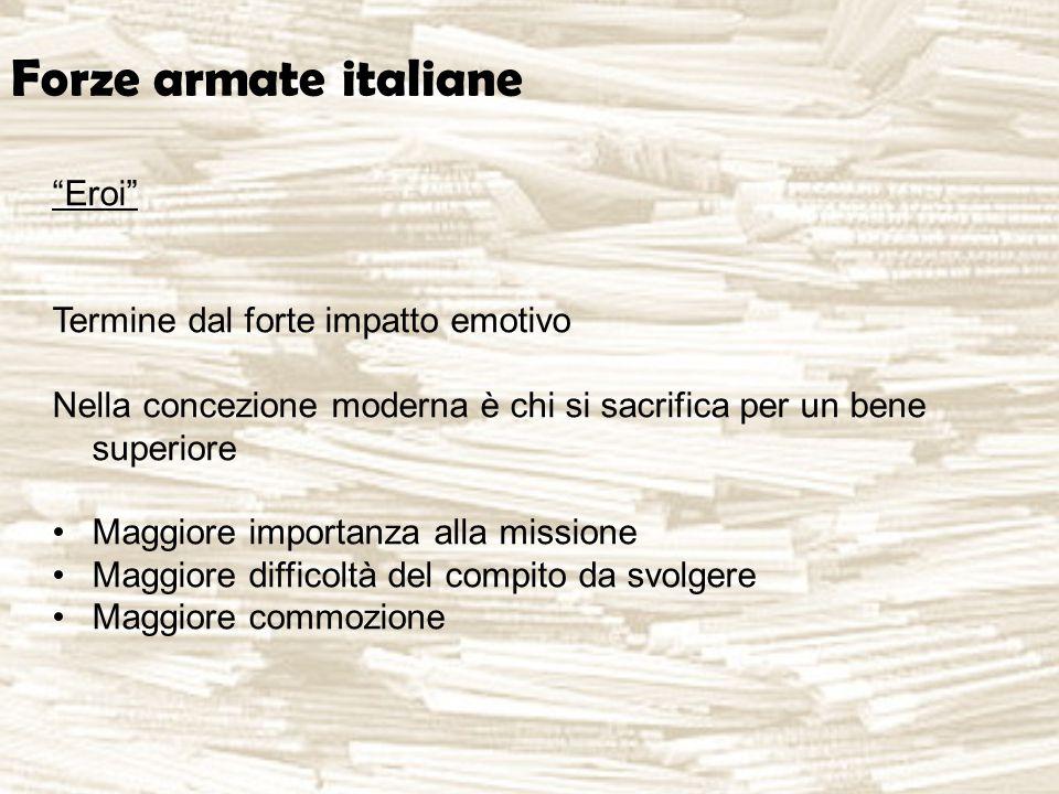 """Forze armate italiane """"Eroi"""" Termine dal forte impatto emotivo Nella concezione moderna è chi si sacrifica per un bene superiore Maggiore importanza a"""