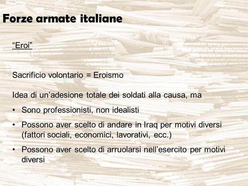 """Forze armate italiane """"Eroi"""" Sacrificio volontario = Eroismo Idea di un'adesione totale dei soldati alla causa, ma Sono professionisti, non idealisti"""