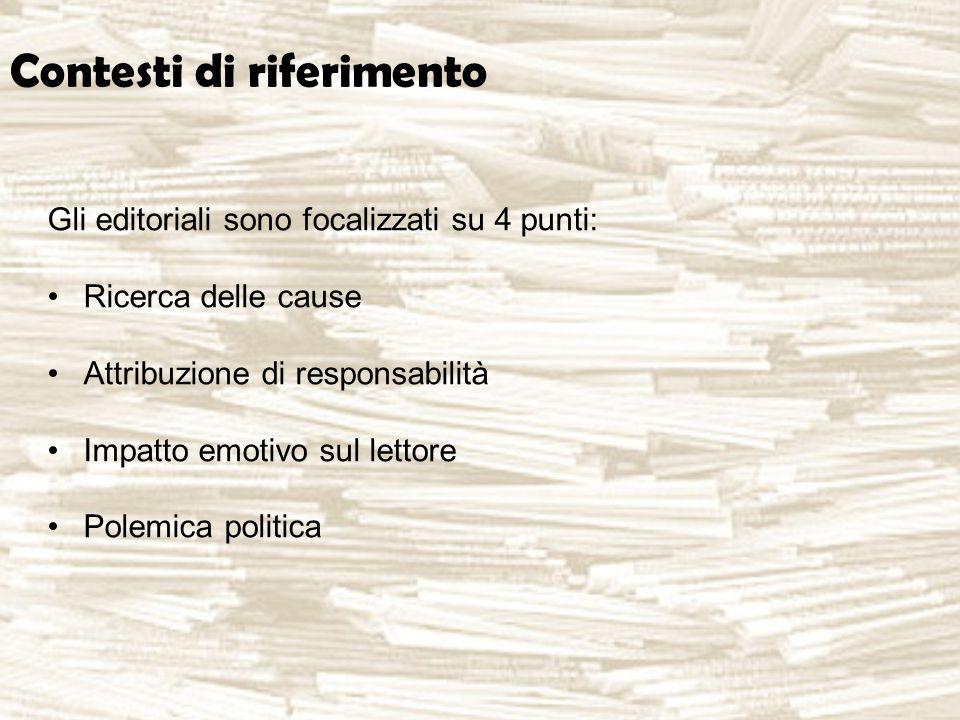 Contesti di riferimento Gli editoriali sono focalizzati su 4 punti: Ricerca delle cause Attribuzione di responsabilità Impatto emotivo sul lettore Polemica politica