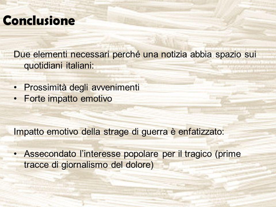 Conclusione Due elementi necessari perché una notizia abbia spazio sui quotidiani italiani: Prossimità degli avvenimenti Forte impatto emotivo Impatto