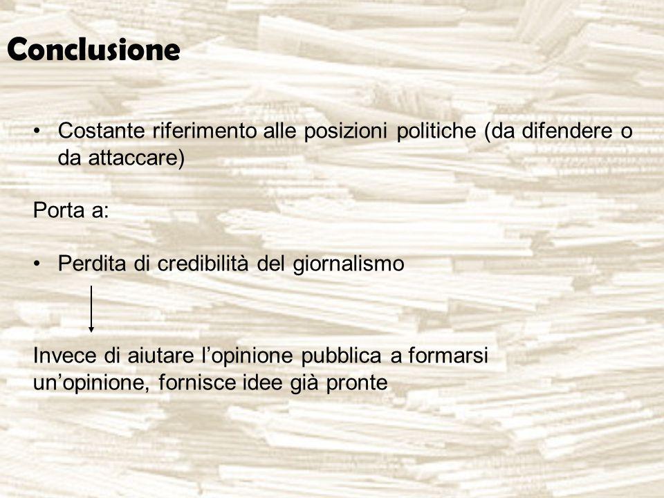 Conclusione Costante riferimento alle posizioni politiche (da difendere o da attaccare) Porta a: Perdita di credibilità del giornalismo Invece di aiutare l'opinione pubblica a formarsi un'opinione, fornisce idee già pronte