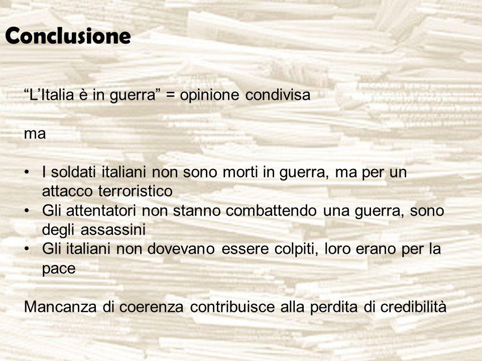 Conclusione L'Italia è in guerra = opinione condivisa ma I soldati italiani non sono morti in guerra, ma per un attacco terroristico Gli attentatori non stanno combattendo una guerra, sono degli assassini Gli italiani non dovevano essere colpiti, loro erano per la pace Mancanza di coerenza contribuisce alla perdita di credibilità